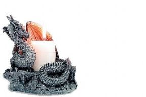 Stone Effect Dragon Candle Holder Fantasy Figurine